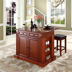 Crosley Furniture Coventry Kitchen Island with Stools in Cherry