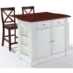 Crosley Furniture Coventry Kitchen Island with Stools in White