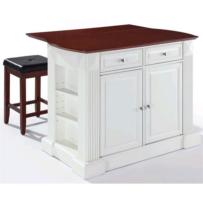 Crosley Furniture Coventry Drop Leaf Breakfast Bar Kitchen Island with Stools in White