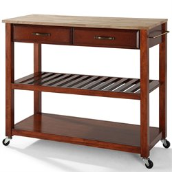 Crosley Kitchen Cart Island Natural Wood in Classic Cherry
