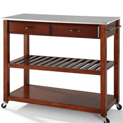 Crosley Kitchen Cart Island Stainless Steel in Classic Cherry