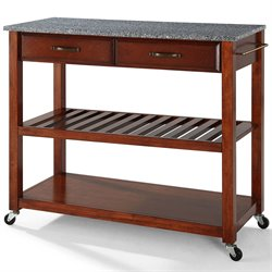 Crosley Kitchen Cart Island Solid Granite in Classic Cherry