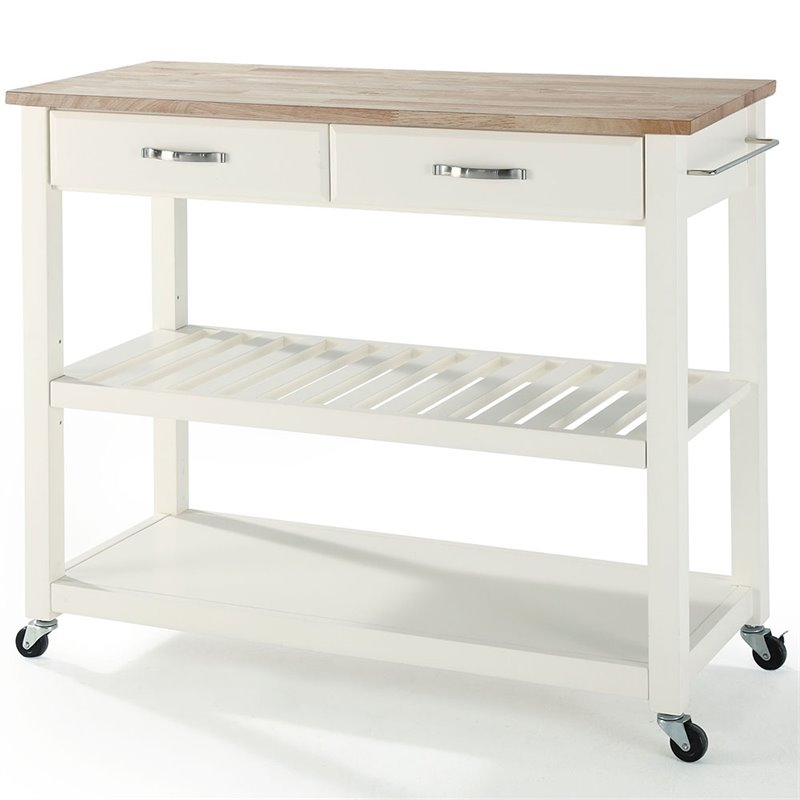 Roots Rack Natural Industrial Kitchen Cart Crosley: Crosley Kitchen Cart Island Natural Wood In White