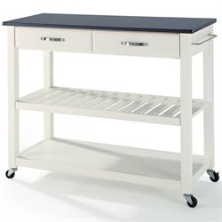 Crosley Kitchen Cart Island Solid Black Granite Top in White