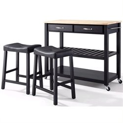 Crosley Natural Wood Top Kitchen Cart/Island with Stools in Black