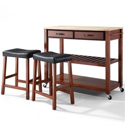 Crosley Furniture Natural Wood Top Kitchen Cart/Island with Stools in Classic Cherry