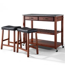 Crosley Furniture Solid Granite Top Kitchen Cart/Island with Stools in Classic Cherry