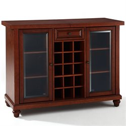 Crosley Cambridge Sliding Top Home Bar Cabinet in Vintage Mahogany