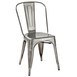 Crosley Furniture Amelia Metal Dining Chair in Galvanized (Set of 2)