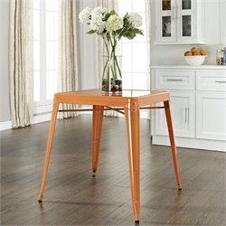Crosley Furniture Amelia Metal Cafe Dining Table in Orange