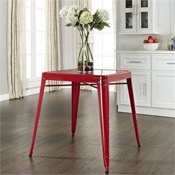 Metal Cafe Dining Table in Red