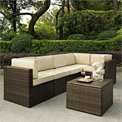 Crosley Furniture Palm Harbor 6 Piece Outdoor Wicker Seating Set