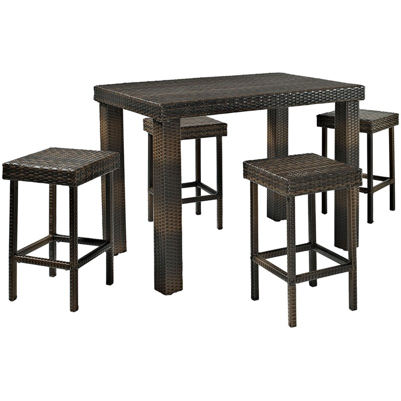 crosley furniture palm harbor 5 piece wicker patio dining