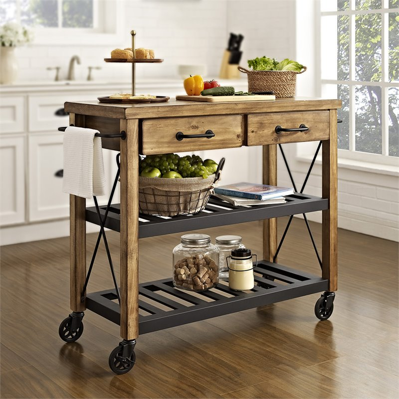 Crosley Furniture Roots Rack Natural Industrial Kitchen: Crosley Roots Rack Industrial Kitchen Cart