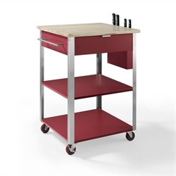 Crosley Culinary Prep Kitchen Cart in Red