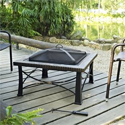 Crosley Firestone Square Slate Firepit in Black