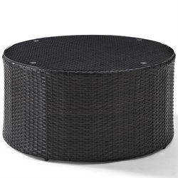 Crosley Catalina Outdoor Wicker Round Glass Top Coffee Table