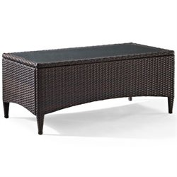 Kiawah Outdoor Wicker Glass Top Table