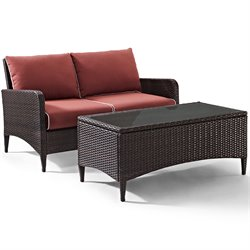 Crosley Furniture Kiawah 2 Piece Outdoor Wicker Seating Set