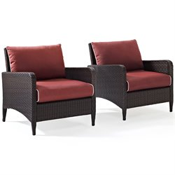 Kiawah 2 Piece Outdoor Wicker Seating Set with Two Arm Chairs