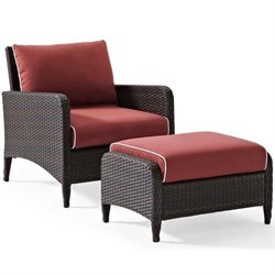 Kiawah 2 Piece Outdoor Wicker Seating Set with Ottoman