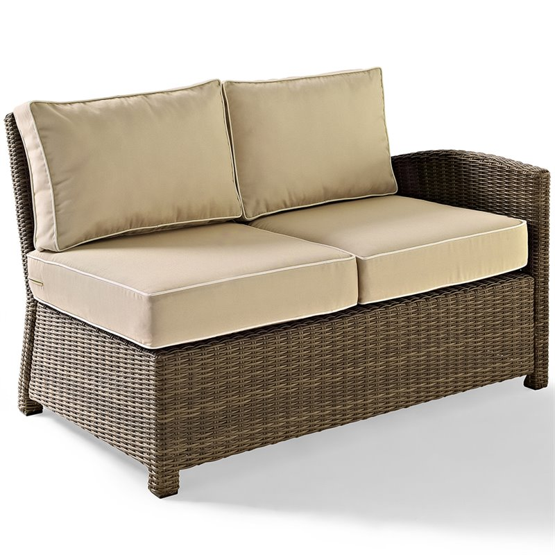 Crosley furniture bradenton outdoor wicker sectional right loveseat with sand cushions Loveseat cushions for outdoor furniture