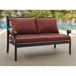 Crosley Portofino Cast Aluminum Love Seat in Charcoal
