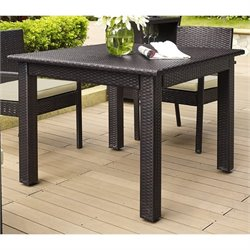 Crosley Palm Harbor Outdoor Wicker Square Dining Table in Brown