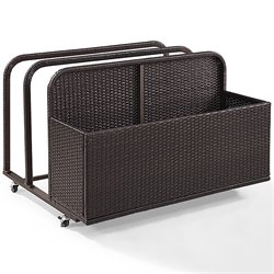 Crosley Palm Harbor Outdoor Wicker Float Caddy in Dark Brown