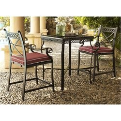 Crosley Portofino Cast Aluminum 3 Piece Bistro Set in Sangria
