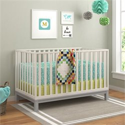 Crib in Soft Gray White