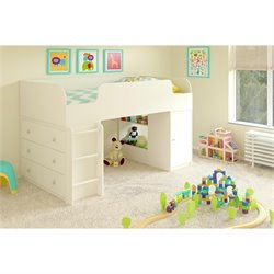 Loft Bed with Dresser and Toy Box in White