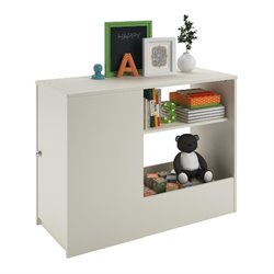 Toy Box Bookcase with Door in White