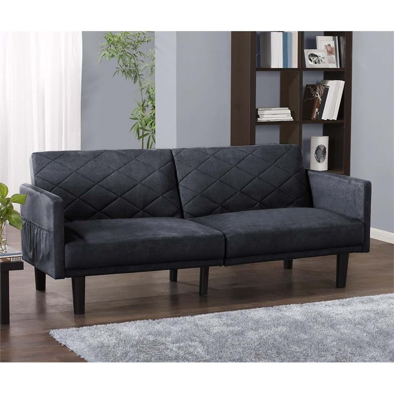Microfiber Convertible Sofa In Navy Blue 2097619