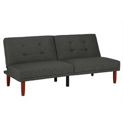 Tufted Convertible Sofa in Charcoal Gray with Tapered Legs