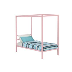 Modern Metal Twin Canopy Bed in Pink Rose Quartz