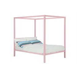 Modern Metal Full Canopy Bed in Pink Rose Quartz