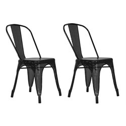 Metal Mesh Dining Chair in Black (Set of 2)
