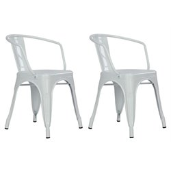 Metal Dining Chair in White (Set of 2)