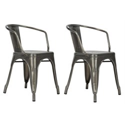 Metal Dining Chair in Antique Gun Metal (Set of 2)