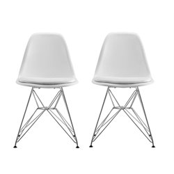 Modern Dining Chair with Upholstered Seat (Set of 2)