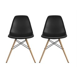 Modern Molded Dining Chair in Black (Set of 2)