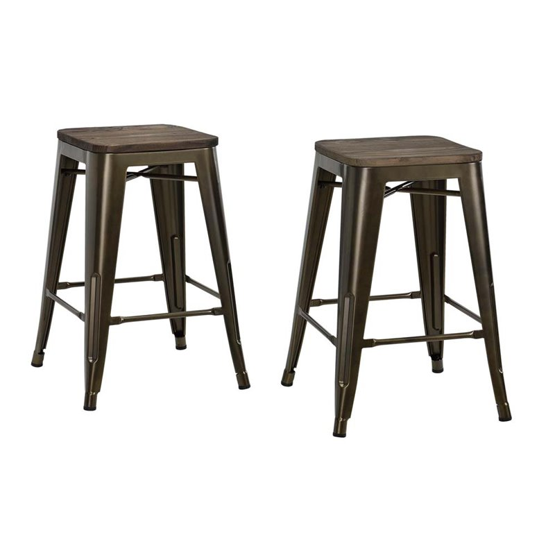 24 Quot Industrial Metal Counter Stool In Antique Bronze S002107