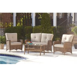 Outdoor 4 Piece Wicker Conversation Set with Cushions