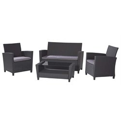 Outdoor 4 Piece Patio Sofa Set in Black and Gray