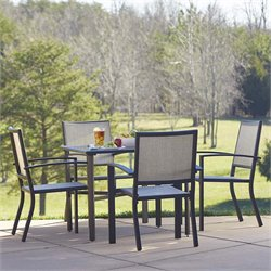 Outdoor 5 Piece Square Aluminum Patio Dining Set