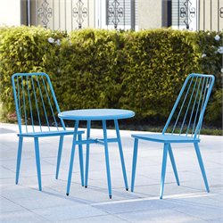 Outdoor 3 Piece Metal Patio Bistro Set in Blue