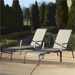 Outdoor Aluminum Patio Chaise Lounge (Set of 2)