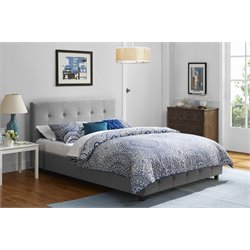 Linen Upholstered Full Platform Bed in Gray