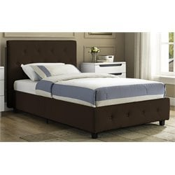 Upholstered Faux Leather Twin Bed in Brown
